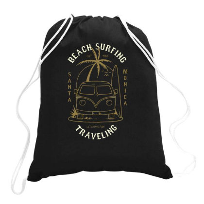 Vacation Car With Surfboad Drawstring Bags Designed By Dulart