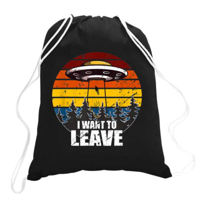 I Want To Leave Vintage Sunset Alien Ufo Drawstring Bags Designed By Qudkin