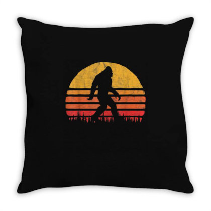 Retro Bigfoot Silhouette Vintage Sunset Throw Pillow Designed By Qudkin