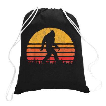 Retro Bigfoot Silhouette Vintage Sunset Drawstring Bags Designed By Qudkin