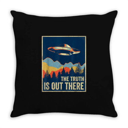 The Truth Is Out Retro Vintage Ufo Throw Pillow Designed By Qudkin