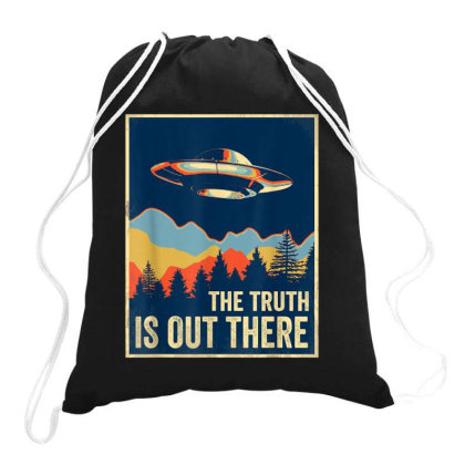 The Truth Is Out Retro Vintage Ufo Drawstring Bags Designed By Qudkin