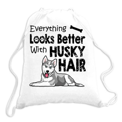Everything Looks Better With Husky Hair Drawstring Bags Designed By Kimochi