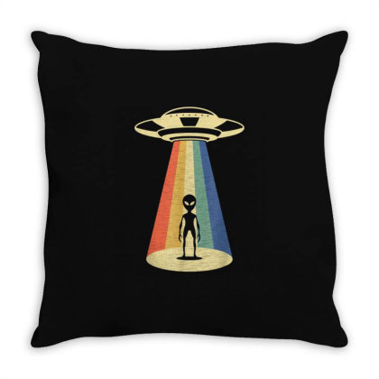 Ufo Alien Abduction Vintage Throw Pillow Designed By Qudkin