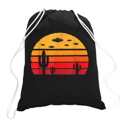 Ufo Alien Retro Desert Vintage Extraterrestrial Drawstring Bags Designed By Qudkin