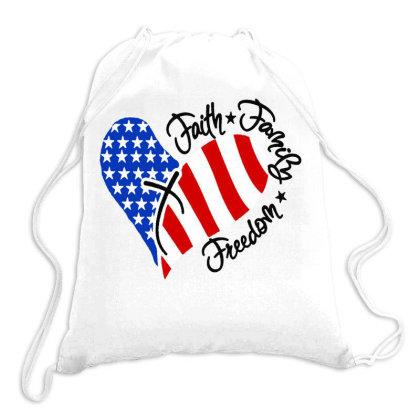 Faith Family Freedom Drawstring Bags Designed By Kimochi