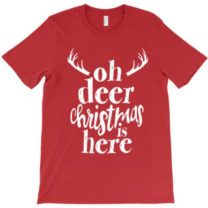 Christmas Print Striped , Oh Deer Christmas Is Here, Xmas Reindeer T-shirt Designed By Welcome12