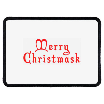 Merry Christmask Rectangle Patch Designed By Laravirna