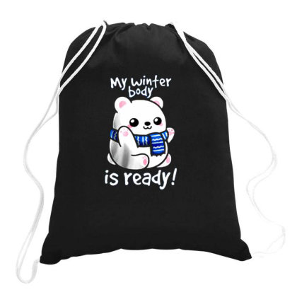 Polar Bear Winter Body Drawstring Bags Designed By Yanidindapratiwi