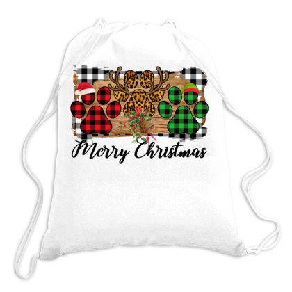 Merry Christmas Paws Drawstring Bags Designed By Bettercallsaul