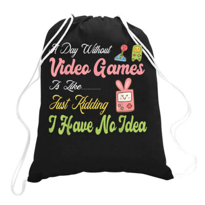 A Day Without Video Games Drawstring Bags Designed By Koopshawneen