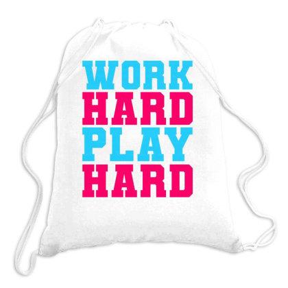 Work Hard Play Hard 5 Drawstring Bags Designed By Dulart