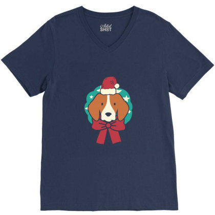 Christmas Dog V-neck Tee Designed By Blackstone