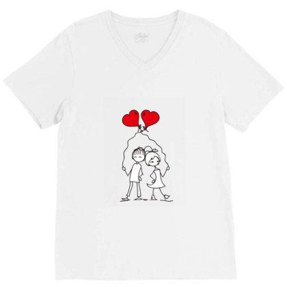 Couples In Love V-neck Tee Designed By Coşkun