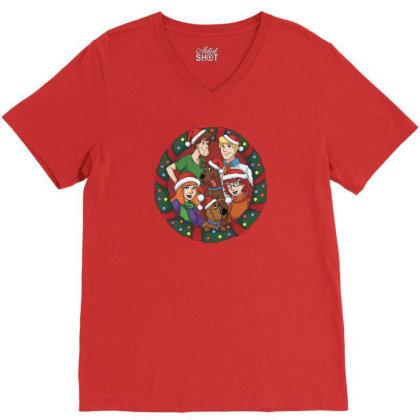 Merry Christmas Funny Scooby-doo Cartoon V-neck Tee Designed By Coşkun