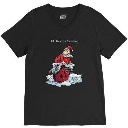 Christmas Jumper Santa Delivers Sam V-neck Tee Designed By Hoainv