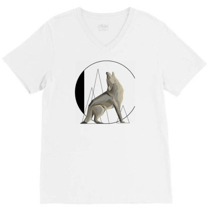Animal Typography Art V-neck Tee Designed By Chiks