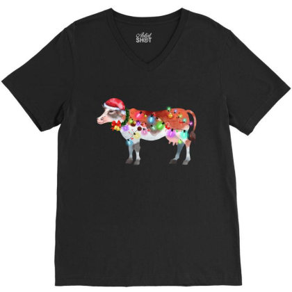 Funny Cow Christmas Lights V-neck Tee Designed By Hoainv