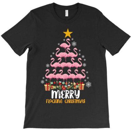 Merry Flocking Christmas Flamingo T-shirt Designed By Rardesign