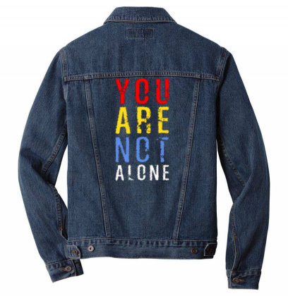 You Are Not Alone Men Denim Jacket Designed By Dulart