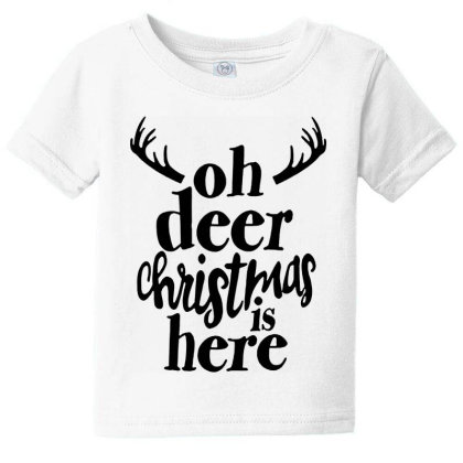 Oh Deer Christmas Here Baby Tee Designed By Kimochi