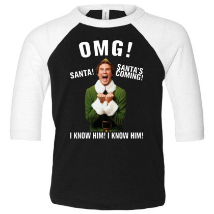 Omg Santa's Coming Elf Toddler 3/4 Sleeve Tee Designed By Kimochi