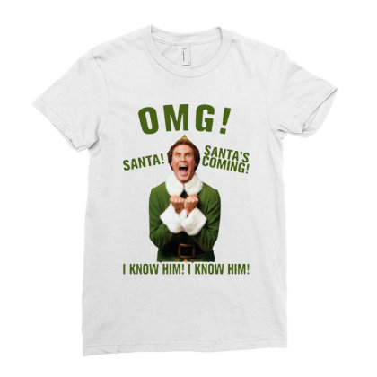 Omg Santa's Coming Elf Ladies Fitted T-shirt Designed By Kimochi