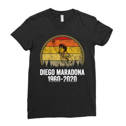 Vintage Diego Armando Maradona 1960 2020 Ladies Fitted T-shirt Designed By Smile 4ever