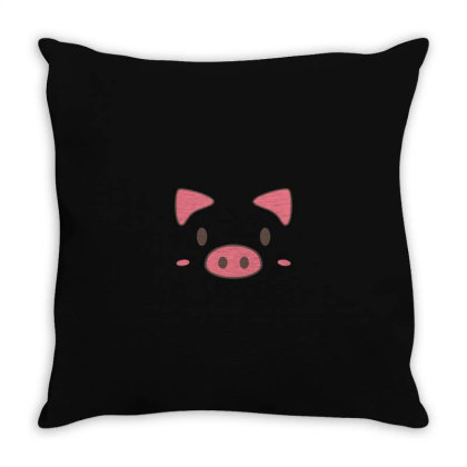 Cute Piggy Face Halloween Throw Pillow Designed By Yusrizal_