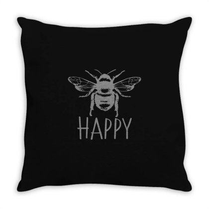 Cute Vintage Bee Happy Throw Pillow Designed By Yusrizal_