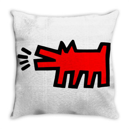 Keith Haring Dog Merch Throw Pillow Designed By Gilaban