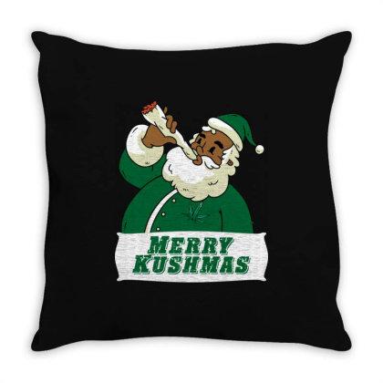 Black African American Santa Merry Kushmas Throw Pillow Designed By Koopshawneen