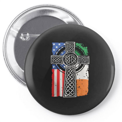 Irish American Flag Celtic Cross Pin-back Button Designed By Koopshawneen