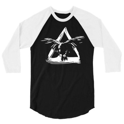 Crow Flying 3/4 Sleeve Shirt Designed By Wowotees
