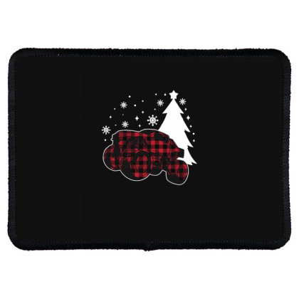 Christmas Monster Truck Buffalo Plaid Holiday Rectangle Patch Designed By Blackstone