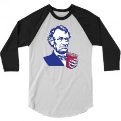 Abraham Lincoln Celebrating 4th Of July 3/4 Sleeve Shirt | Artistshot