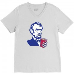 Abraham Lincoln Celebrating 4th Of July V-Neck Tee | Artistshot
