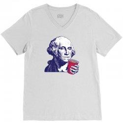 George Washington Celebrating 4th Of July V-Neck Tee | Artistshot