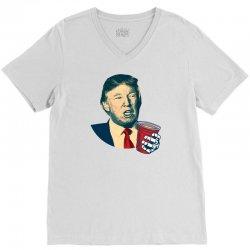 Donald Trump Celebrating 4th Of July V-Neck Tee   Artistshot