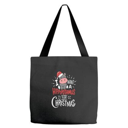 I Want Hippopotamus For Christmas Hippo Xmas Tote Bags Designed By Blackstone