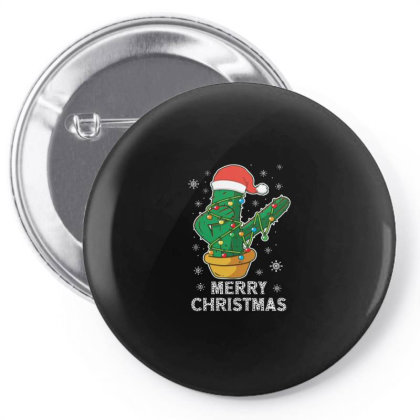 Merry Christmas Cactus Plant Lover Xmas Holiday Pin-back Button Designed By Blackstone