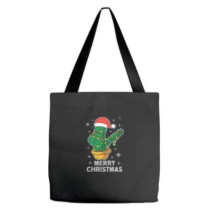 Merry Christmas Cactus Plant Lover Xmas Holiday Tote Bags Designed By Blackstone