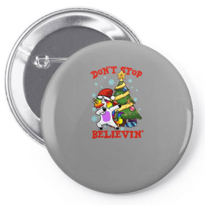 Don't Stop Believin' Unicorn Dabbing Christmas Tree Pin-back Button Designed By Hoainv
