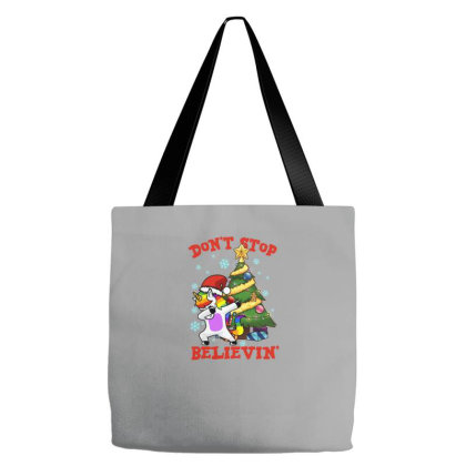 Don't Stop Believin' Unicorn Dabbing Christmas Tree Tote Bags Designed By Hoainv
