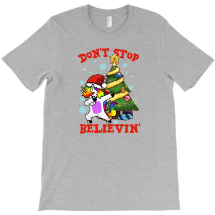 Don't Stop Believin' Unicorn Dabbing Christmas Tree T-shirt Designed By Hoainv