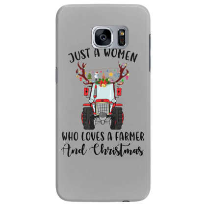 Just A Woman Who Loves A Farmer And Christmas Samsung Galaxy S7 Edge Case Designed By Hoainv
