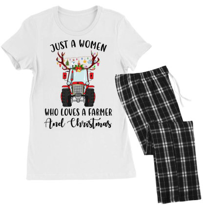 Just A Woman Who Loves A Farmer And Christmas Women's Pajamas Set Designed By Hoainv