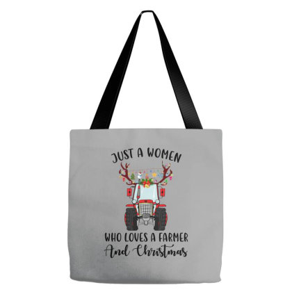 Just A Woman Who Loves A Farmer And Christmas Tote Bags Designed By Hoainv