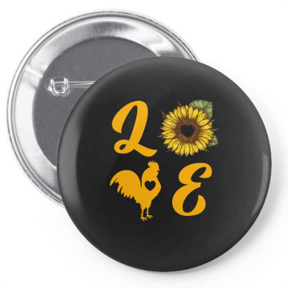 Love Chicken Sunflower Pin-back Button Designed By Ashlıcar