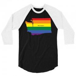 washington rainbow flag 3/4 Sleeve Shirt   Artistshot